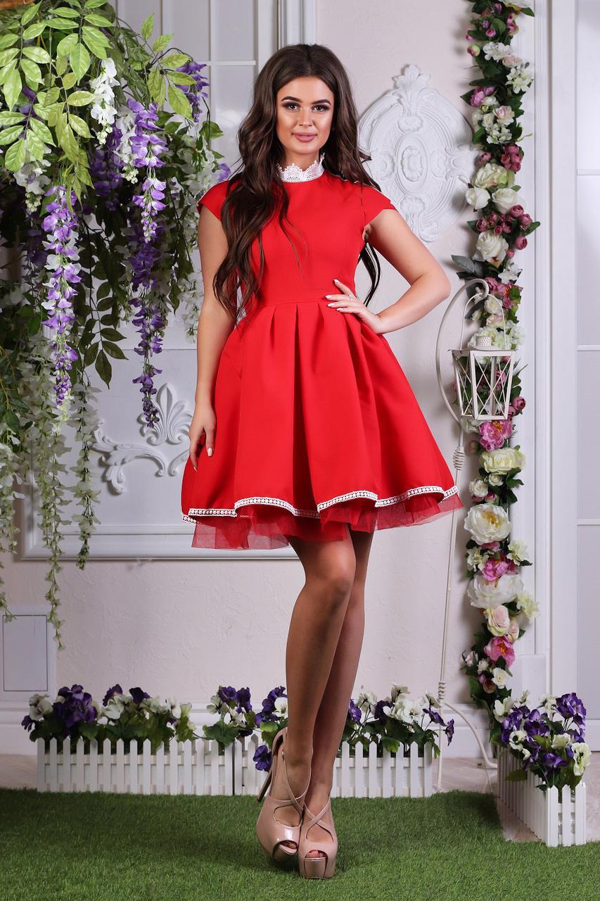 """Нарядное летне мини-платье """"JUNO"""" с кружевом и пышной юбкой (4 цвета)"""