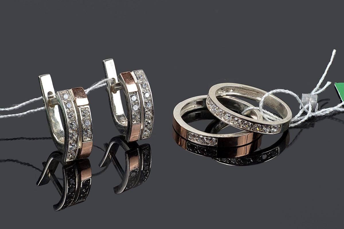 Серебряный набор с золотом - 16 р кольца