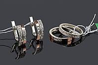 Серебряный набор с золотом - 16 р кольца, фото 1