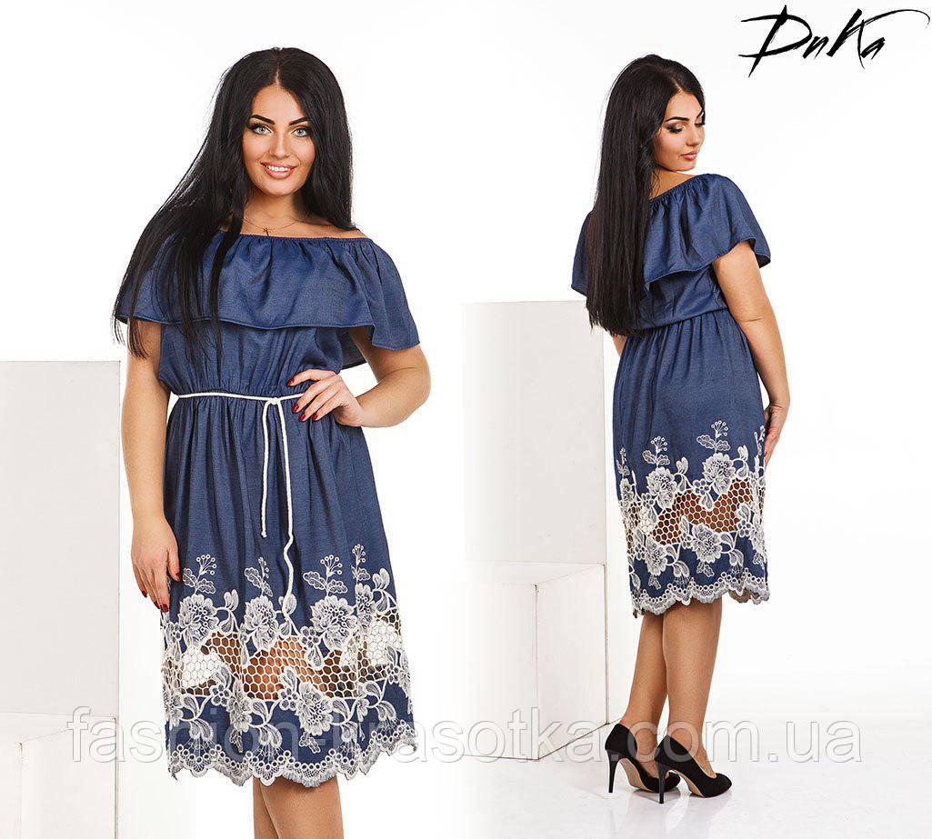 Нарядное летнее легкое платье в размерах 50-56