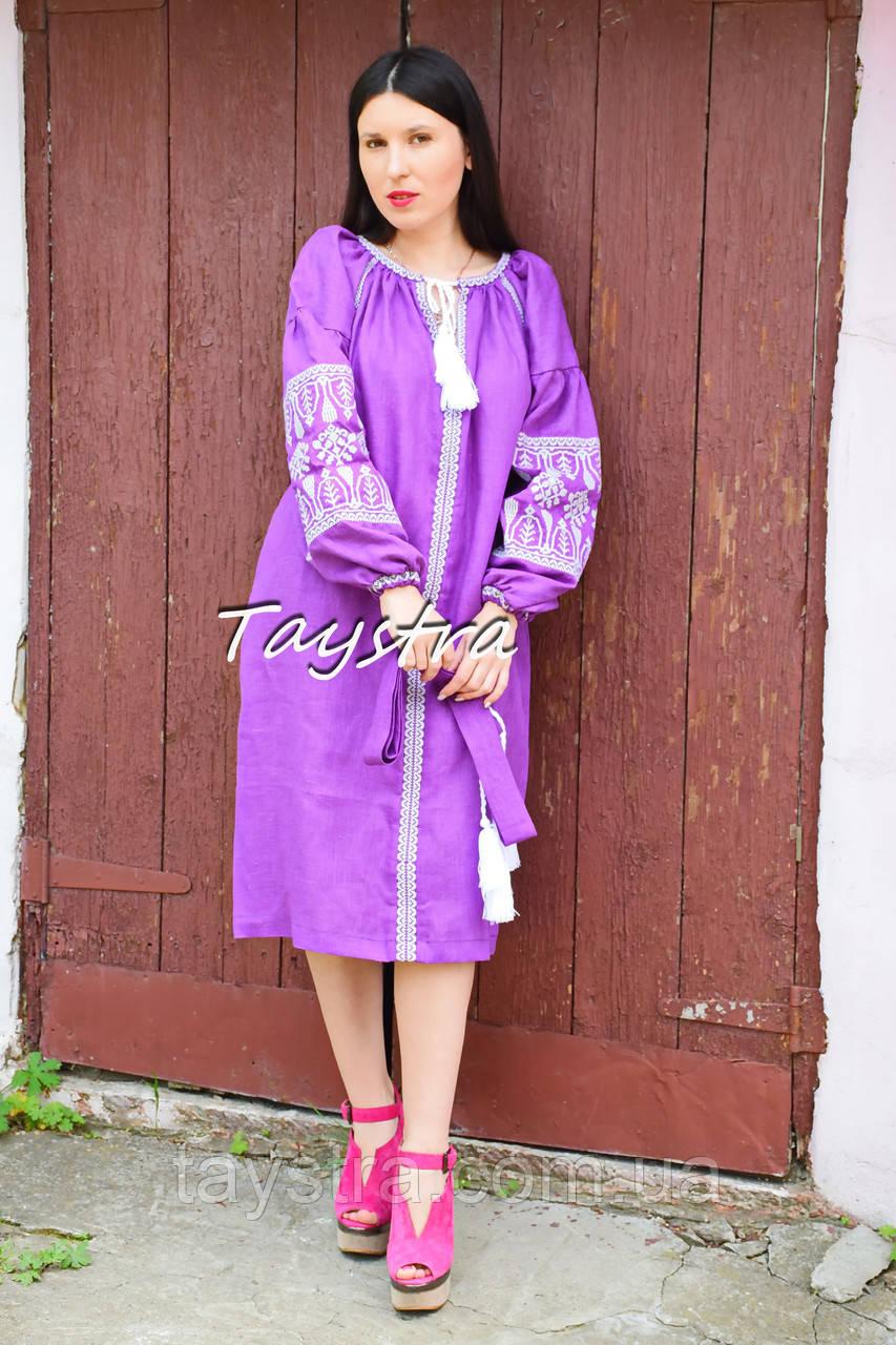 Вышитое льняное платье бохо 5619406def490