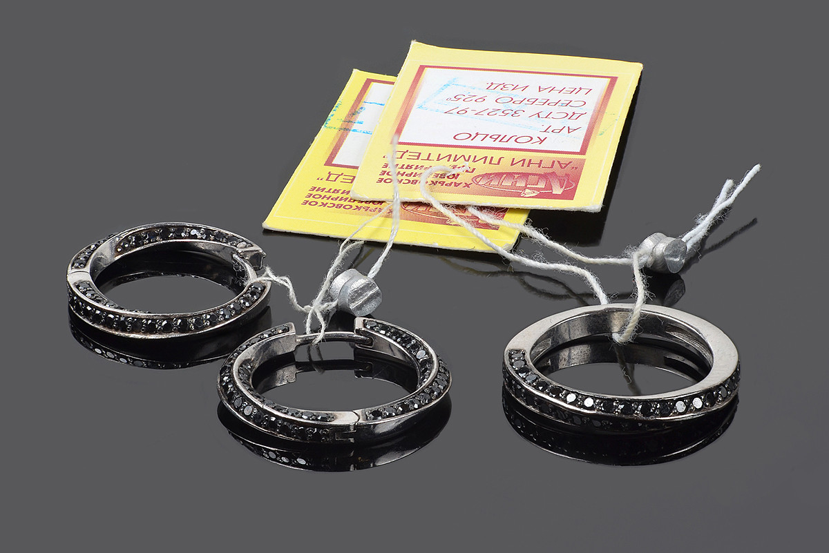 Серебряный набор Тесьма: серьги и кольцо