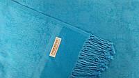 Пашмина из Непала 182х67см, палантин  голубой однотонный