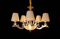 Люстра классическая с светодиодной подсветкой  рожков серебро/золото  8329-5, фото 1