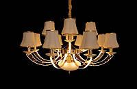 Люстра классическая с светодиодной подсветкой  рожков серебро/золото 8345-12, фото 1