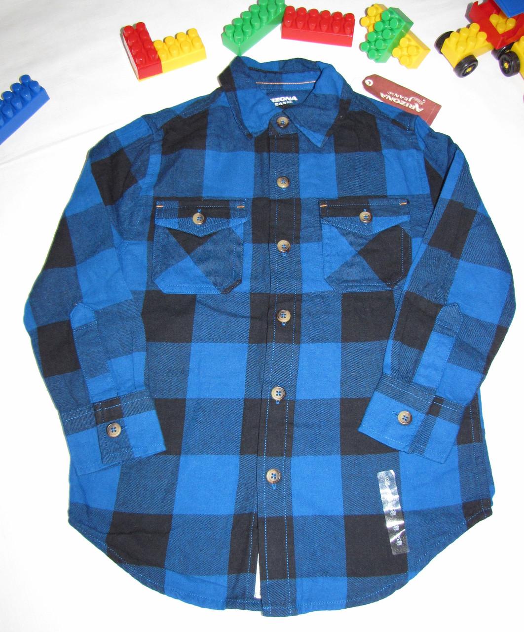Рубашка теплая Arizona Jeans оригинал рост 116 см синяя+черная 07053