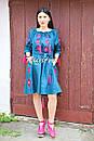 Платье открытые плечи  вышиванка лен платье, вишите плаття вишиванка, летнее платье морская волна, фото 2