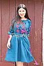 Платье открытые плечи  вышиванка лен платье, вишите плаття вишиванка, летнее платье морская волна, фото 5