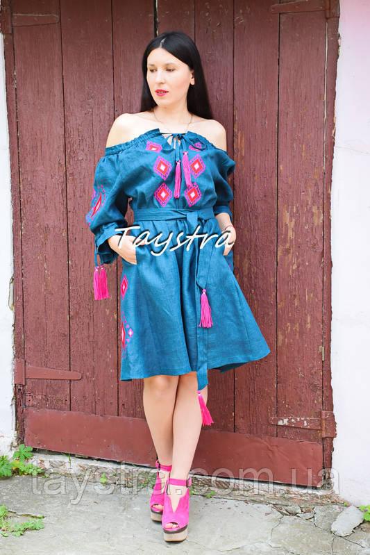 Платье открытые плечи  вышиванка лен платье, вишите плаття вишиванка, летнее платье морская волна