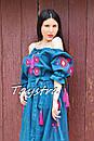 Платье открытые плечи  вышиванка лен платье, вишите плаття вишиванка, летнее платье морская волна, фото 8