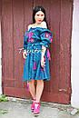 Платье открытые плечи  вышиванка лен платье, вишите плаття вишиванка, летнее платье морская волна, фото 6