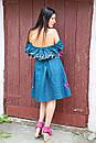 Платье открытые плечи  вышиванка лен платье, вишите плаття вишиванка, летнее платье морская волна, фото 9