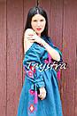 Платье открытые плечи  вышиванка лен платье, вишите плаття вишиванка, летнее платье морская волна, фото 7
