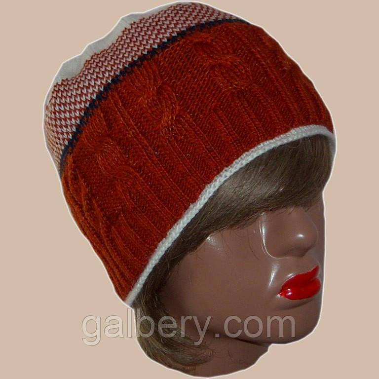 В'язана жіноча шапка на підкладці з бортиком в етнічному стилі