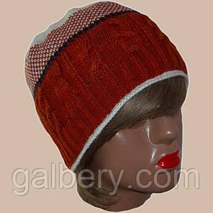 Вязаная женская шапка на подкладке с бортиком в этническом стиле