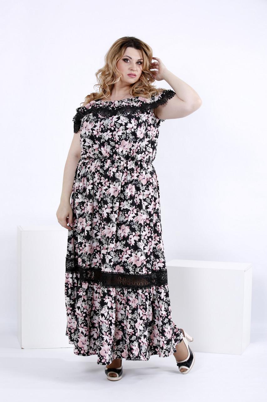 268522b1fb0f Легкое платье в пол с цветами (замена принта)   0858-2(42-74)