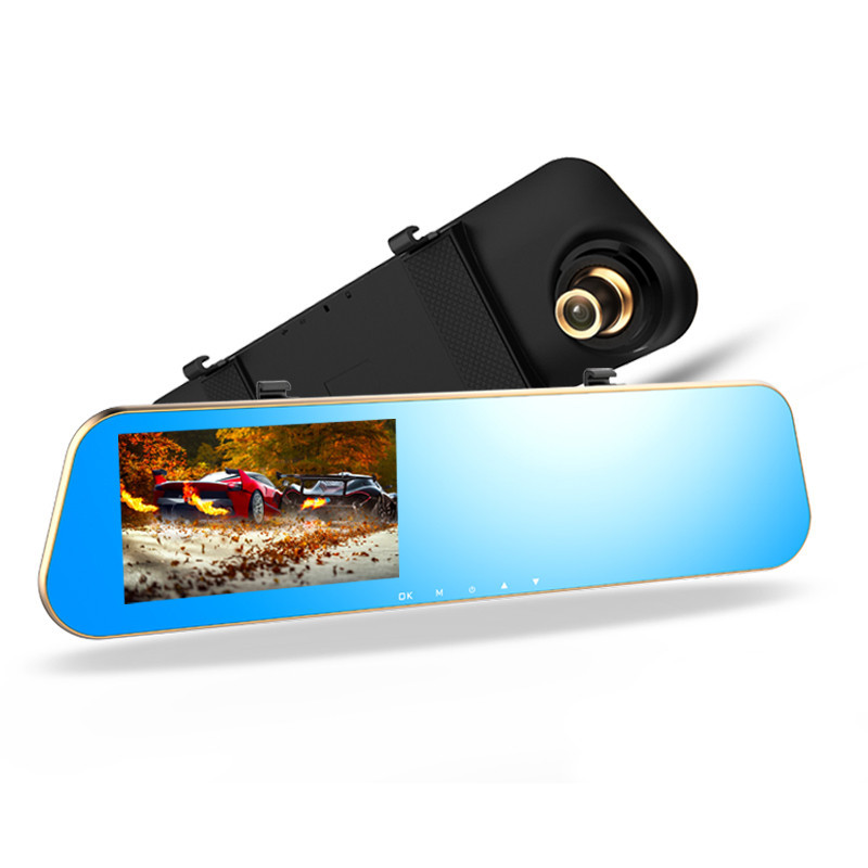 Зеркало заднего вида с видеорегистратором DVR DV460 Черно-золотое