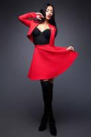 Костюм стеганый юбка пышная и пиджак красного цвета нарядный праздничный молодежный пышная юбка, фото 1