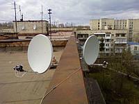Установка спутникового телевидения, две антенны на 3 телевизора, Люкс