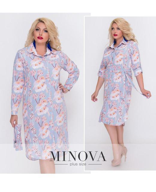 Платье–рубашка на пуговицах с длинными рукавами ТМ Минова. Размер: 52-56