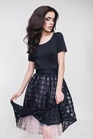 Костюм женский футболка и юбка-пачка, молодежный черного цвета с пышной юбкой, костюм летний  , фото 1