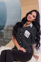 Рубашка женская черная в белый горох, рубашка молодежная красивая штапель, фото 1