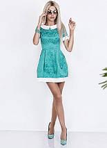 "Приталенное жаккардовое мини-платье ""Esenia"" с воротничком и коротким рукавом (3 цвета), фото 2"