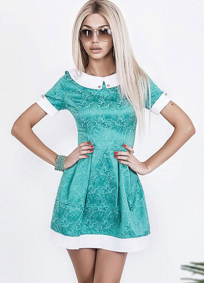 "Приталенное жаккардовое мини-платье ""Esenia"" с воротничком и коротким рукавом (3 цвета)"