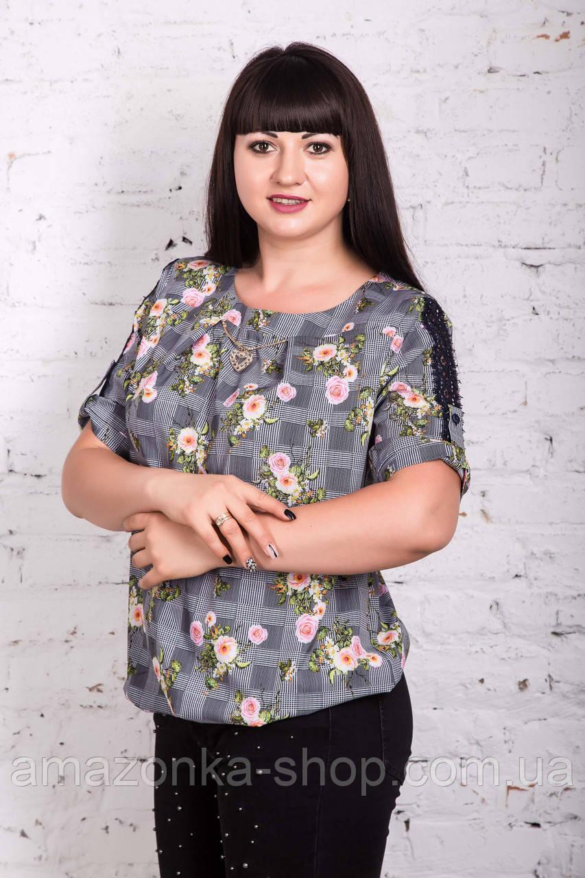 Летняя цветочная блуза больших размеров весна-лето 2018 - (код бл-204)