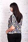 Летняя цветочная блуза больших размеров весна-лето 2018 - (код бл-204), фото 3