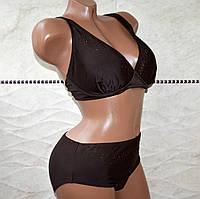 Модный классический темно-коричневый раздельный купальник, со стразами, камнями, есть косточки,  размер 48