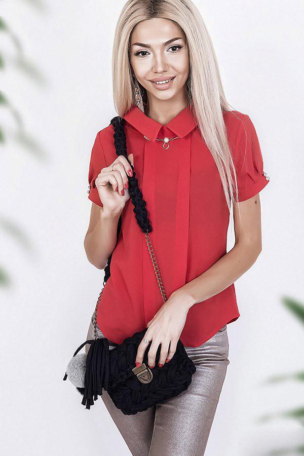 """Летняя женская блуза """"Джессика"""" с подвеской и коротким рукавом (4 цвета)"""