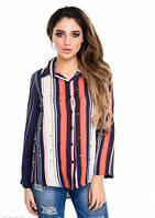 Рубашка женская полоска, рубашка шифоновая красивая молодежная, фото 1