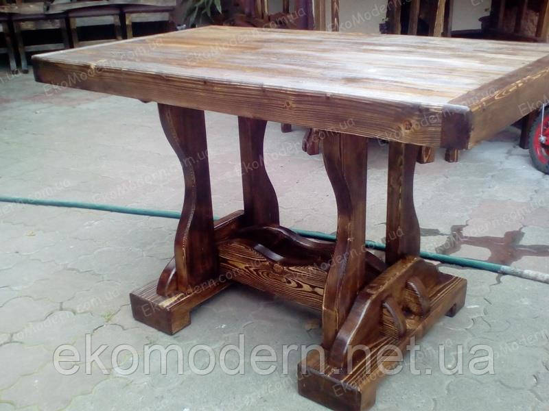 Стол деревянный под старину ВИКОНТ для дома, сауны, ресторана, бара