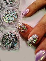 Глиттеры, Голографические блестки, песок для декора ногтей набор 12 цветов