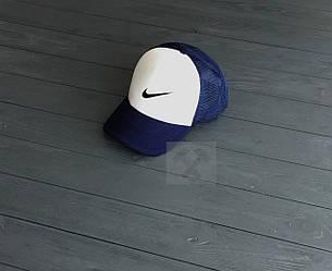 Спортивная кепка Nike, Найк, тракер, летняя кепка, мужская, женская, синего и белого цвета, копия