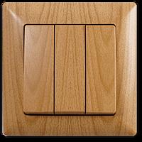 Выключатель 3-х клавишный Gunsan Visage клён
