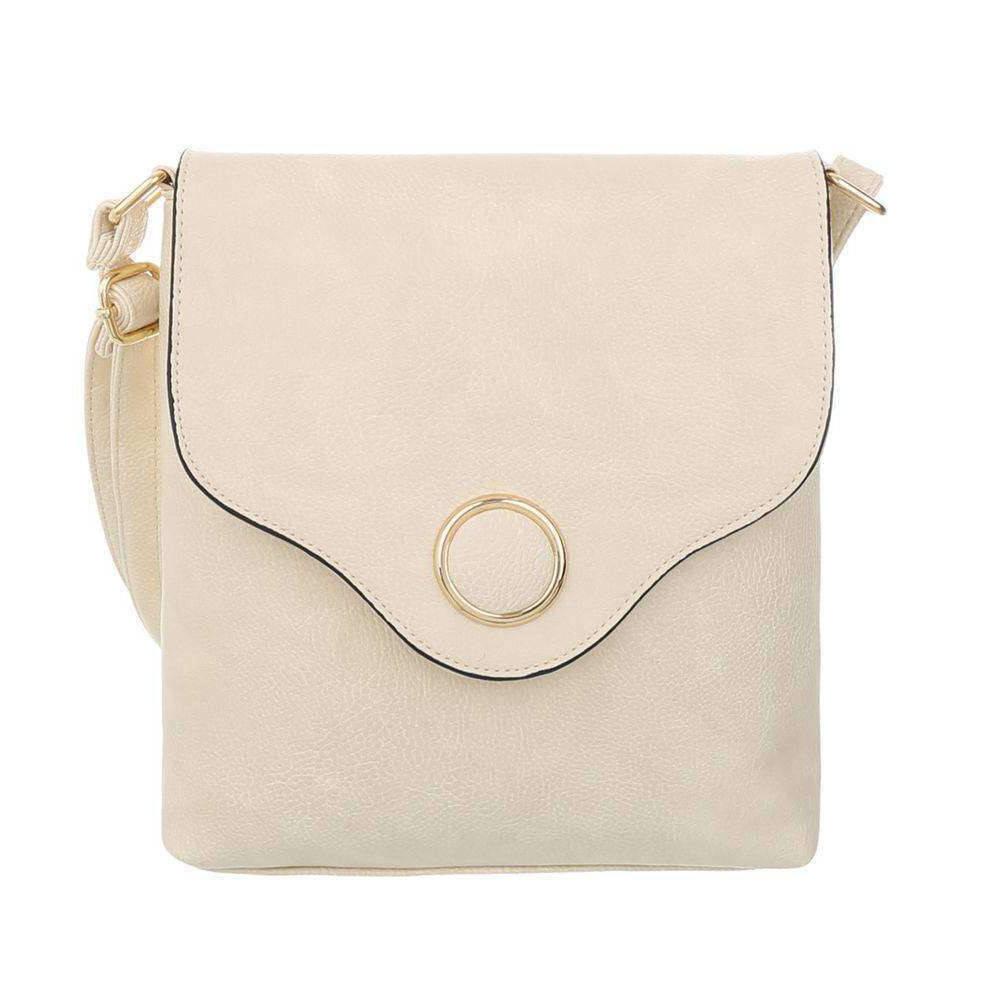 Женская сумка-месенджер с металлическим кругом из экокожи(Европа) Кремовый