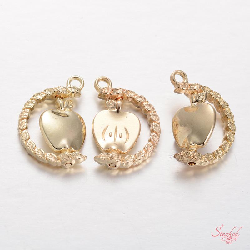 Металлический кулон яблоко вращается 25х17мм золото для рукоделия