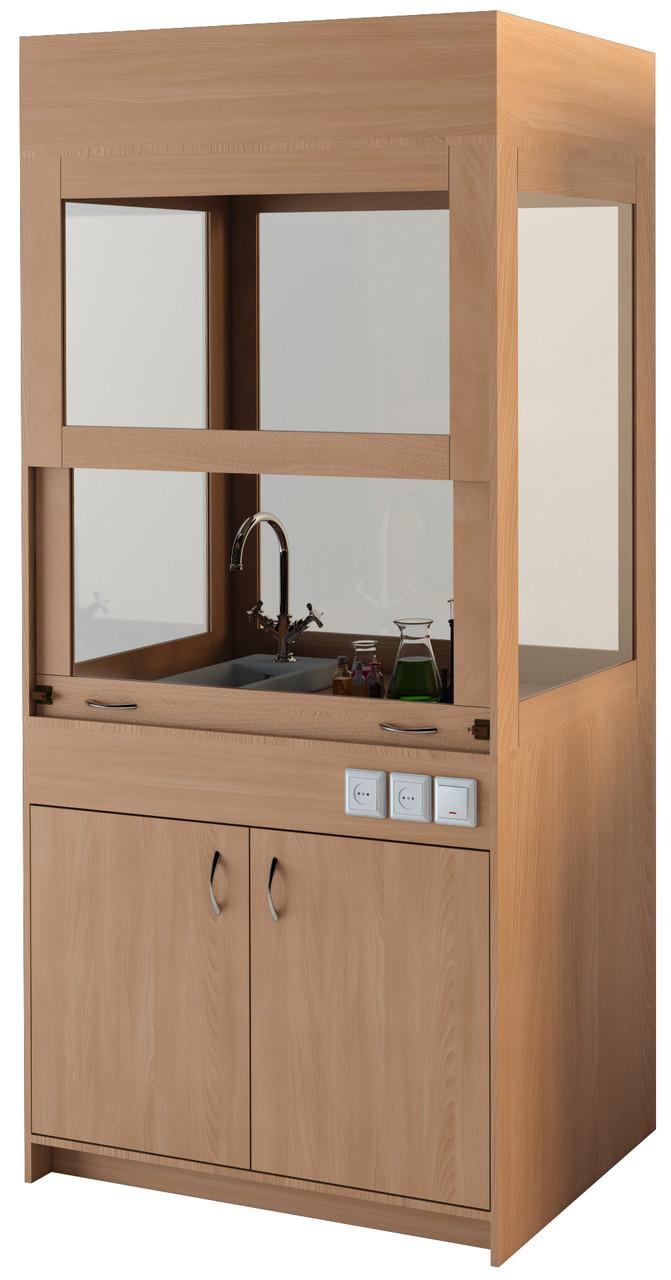 Лабораторный вытяжной шкаф для кабинета химии, с мойкой — 1044х700х2240 мм, фото 1