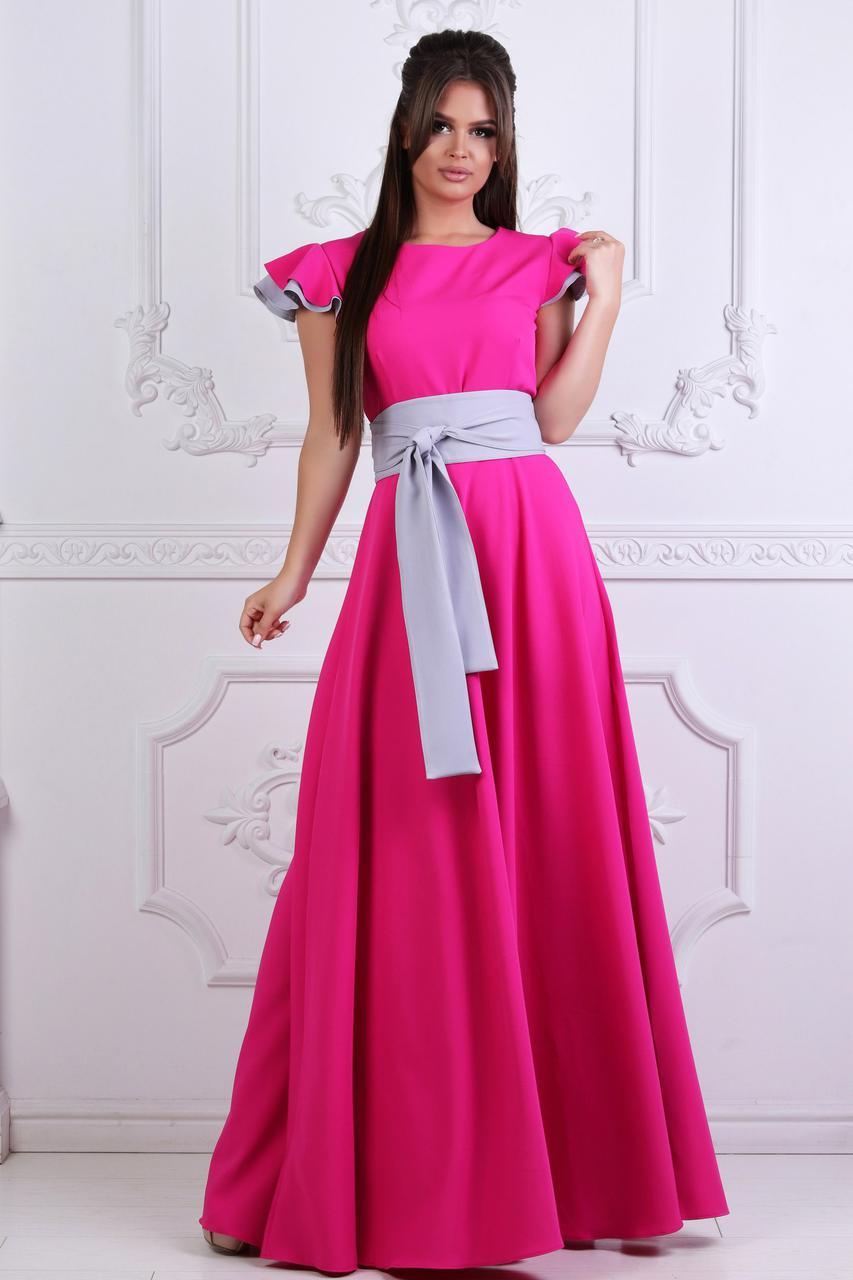 """Длинное летнее платье """"DONNA"""" с контрастным поясом (3 цвета)"""