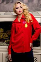 Блуза женская красного цвета с длинным рукавом на пуговицах с вышевкой