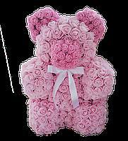 Медведь из цветов  розовый большой в коробке