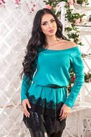 Туника женская теплая с поясом бирюзового цвета нарядная низ кружевной, фото 1