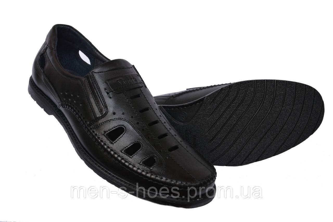 Мужские туфли летние кожаные Vivaro Вlack