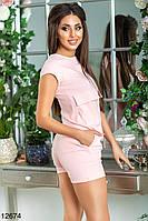 Комбинезон женский джинсовый сдельный розовый шортиками