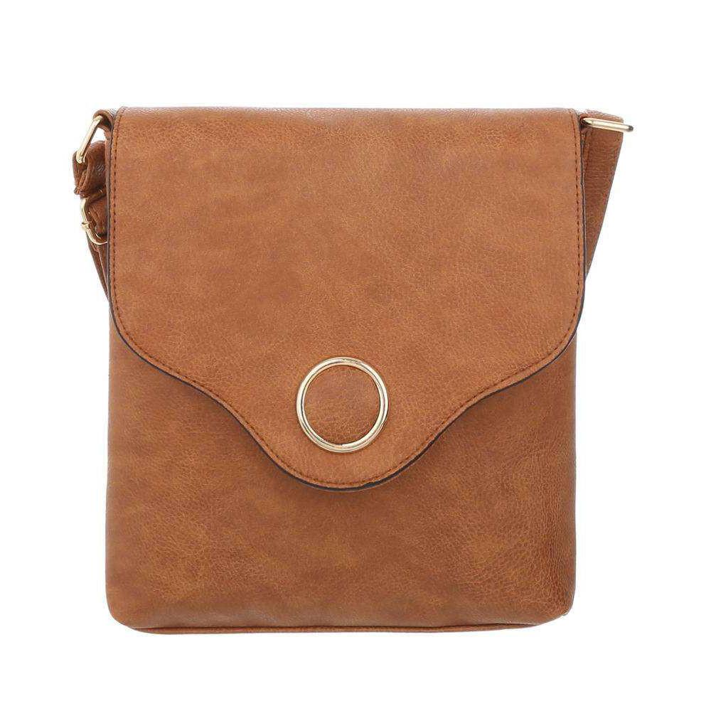Женская сумка-мессенджер с металлическим кругом из экокожи(Европа) Терракота