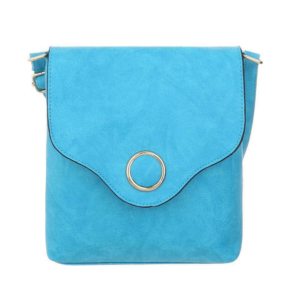 Женская сумка-мессенджер с металлическим кругом из экокожи(Европа) Голубой
