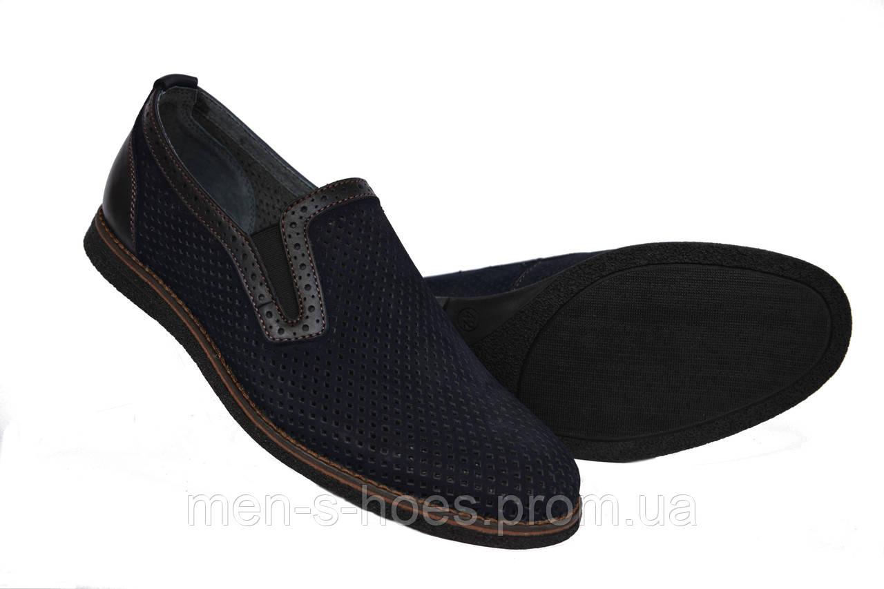 Туфли мужские кожаные синие летние нубук на резинках