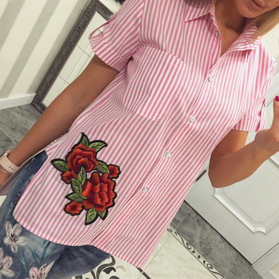 Летняя рубашка из хлопка Роза розовый